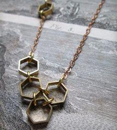 Asymmetrical Hexagon Molecule Necklace