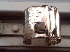 Sterling Silver Rutiled Quartz  Cuff Bracelet