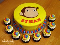 Curious George Cake with Matching Cupcakes - Cake by Becky Pendergraft