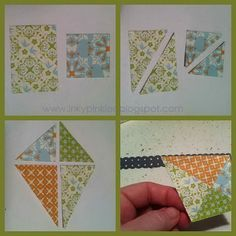"""By Erika Clark. Make a kite from scraps. Cut 1 1/4"""" squares from two different patterns of designer paper. Cut 2"""" x 1 1/4"""" rectangles from two other patterns of designer paper. Now cut each piece diagonally from corner to corner. Choose two smaller triangle and two larger ones to form a kite shape. Adhere the pieces to a 1"""" square of cardstock. See website for how to make a border and tail and for a card sample,"""