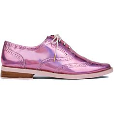 Irregular Choice Nougat Holographic Oxfords - Pale Pink found on Polyvore featuring shoes, oxfords, flats, shoes - flat, pale pink, pointed-toe flats, metallic pointed toe flats, pointy toe flats, lace up pointed toe flats and flat shoes
