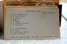 Vintage Recipe | Chocolate Cake by Ruth Denison