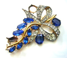 Beautiful Blue and Sparkly Antique Brooch With by parkledge, $25.00