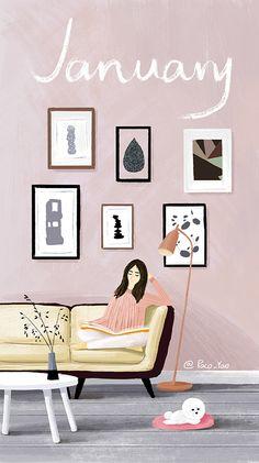 Mood of January Doodle Illustration, Illustration, Couple Wallpaper, Calendar Wallpaper, Wallpaper Backgrounds, Arts Month, Interior Illustration, Cute Illustration, Art Wallpaper