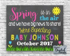 Are you looking for a great way to share with your friends and family the exciting news of expecting a baby? This cute chalkboard printable not only makes a great card and / or photo prop but its also perfect to upload onto social media sites to make your big announcement!  ♥♥♥ PLEASE NOTE: This is a printable digital file - NO PHYSICAL PRODUCT WILL BE SENT ♥♥♥  You will receive a digital JPEG file formatted to be printed as either an 4x6, 5x7, 8x10, 11x14 or 16x20 which you can print f...
