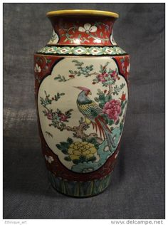 Ancien Vase Chinois Famille Verte Porcelaine Chine Red Chinese Porcelain Ceramic19th