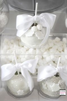 Winter White Bridal Shower Dessert Table by Soiree-EventDesign.com featuring gourmet apples by Roni's Sugar Creations!
