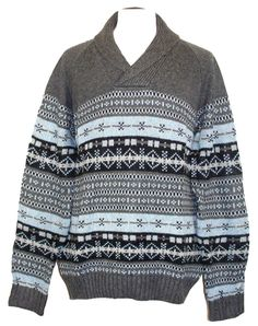 NEW Nautica Mens Sweater Shawl Collar Fairisle Knit Wool Grey Blue XXL 2XL $118 #Nautica #VNeck
