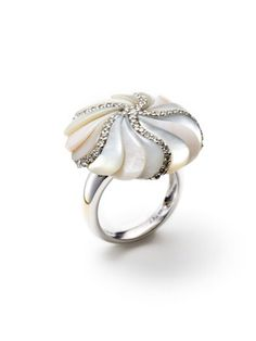 Piranesi Pave Diamond & Multicolor Mother Of Pearl Floral Ring