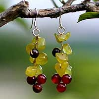 Tiger's eye and carnelian cluster earrings, 'Breezy' from @NOVICA, They help #artisans succeed worldwide.