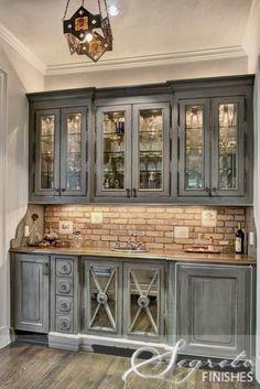 Grey washed cabinets. Brick. Beautiful!