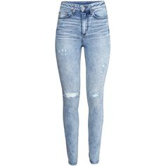H&M Skinny High Jeans ($31) ❤ liked on Polyvore featuring jeans, pants, bottoms, calças, pantalones, light denim blue, super skinny jeans, blue high waisted jeans, super high rise skinny jeans and high rise jeans