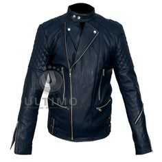 Brando Biker Blue Motorcycle Leather Jacket