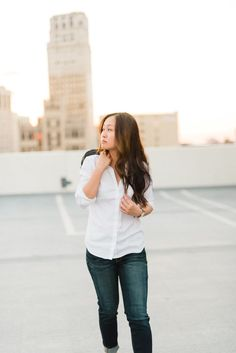 Dress Up, Chow Down - Ann Taylor Shirt, American Eagle Jeans