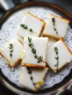 Thyme Bars Lemon Thyme Bars - The best cookes I have ever had were Lemon Thyme. I have to give these a try!Lemon Thyme Bars - The best cookes I have ever had were Lemon Thyme. I have to give these a try! Just Desserts, Delicious Desserts, Yummy Food, Gourmet Desserts, Lemon Desserts, Sweet Desserts, Plated Desserts, Coconut Desserts, Strawberry Desserts
