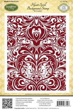 Heart Scroll Background Stamp