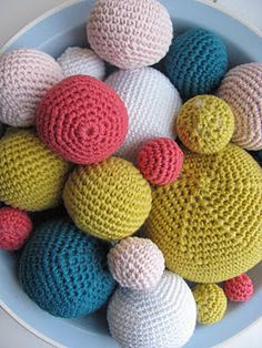 Crochet balls...love these colors together!