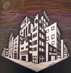 """Artsonia """"Two Point Perspective Cityscape"""""""