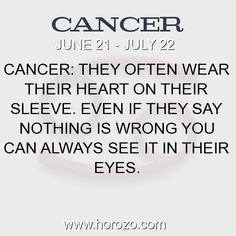 Fact about Cancer: Cancer: They often wear their heart on their sleeve.... #cancer, #cancerfact, #zodiac. More info here: https://www.horozo.com/blog/cancer-they-often-wear-their-heart-on-their-sleeve/ Astrology dating site: https://www.horozo.com