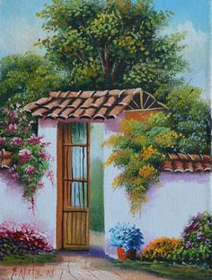 paisajes-al-oleo-de-fincas-haciendas-. Cuban Art, Painting Still Life, Painting Inspiration, Garden Art, Home Art, Landscape Paintings, Barn Paintings, Painting & Drawing, Flower Art