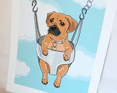 Floral Puggle Greeting Card. $5.50, via Etsy.