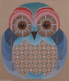 Dede Ogden Hooter Baby Owls D ED17081D Hand Painted Needlepoint Canvas