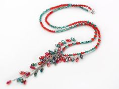 Assorted Green and Red Color Crystal Y Shape Necklace