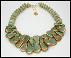 MAJESTIC - Natural Turquoise Smothered in Gold - Nigerian Jade - 1 of a Kind Dramatic Statement Necklace by sandrawebsterjewelry on Etsy