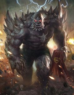 "youngjusticer: "" Imbued with hate, Doomsday has only one purpose: bring about destruction. Created through the process of cloning, Doomsday continually returned to life and evolved, becoming immune to what killed him before, essentially becoming..."