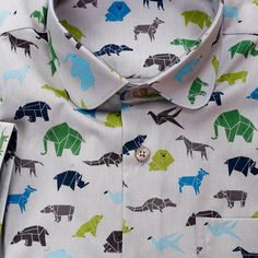 Limited edition shirt created by www.shirtwiseshop.com #limitededition #limitedserie #shirt #roundcollar #summer #printed #cotton #origami #animals #elephant #bear #cocodile #bird #wolf #swallowbird #lion #shirtwise #shirtwiseshop