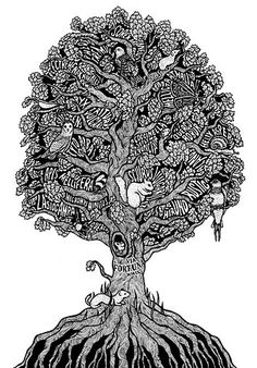 Discovered today: Fortune Tree by Sarah King at the Evening Tweed graphic design collective Tree Of Life Art, Tree Art, Typography Portrait, Sarah King, Art Lesson Plans, Art Techniques, Art Lessons, Painting & Drawing, Art Drawings