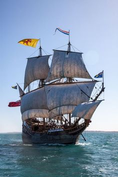 The Duyfken replica sailing off Fremantle, Western Australia.