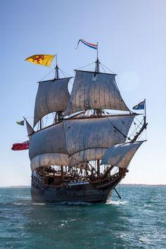 The Duyfken replica sailing off Fremantle, Western Australia.