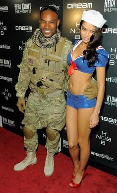 Pin for Later: Get Some Halloween Inspiration With 80+ Amazing Celebrity Costumes! Tyson Beckford and Shanina Shaik were a soldier and (very sexy) sailor at Heidi Klum's Halloween party in 2011.