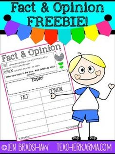 Fact and Opinion FREEBIE!  Improve Comprehension Skills....Balanced Literacy, Reading, Reading Strategies Kindergarten, 1st, 2nd, 3rd, 4th, 5th, Homeschool Activities, Printables, Literacy Center Ideas...Being able to correctly identify and distinguish between fact and opinion will help students improve their overall comprehension skills.