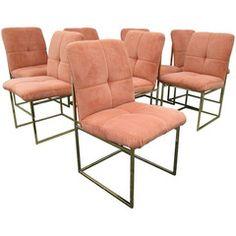 Milo Baughman Style Brass Dining Chairs - Set of 8 - Chairish
