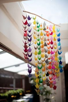 Paper cranes – a traditional Japanese wedding symbol – because of the folklore that says it will grant you your heart's desire
