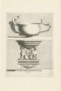Françoise Bouzonnet | Twee kommen, Françoise Bouzonnet, Jacques Stella, Claudine Stella, 1667 | De bovenste kom heeft twee verschillende handvatten, de onderste wordt gedragen door twee sfinxen. Blad 44 uit serie van 25 bladen, genummerd: II (voorheen 26), 27-50.