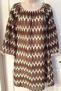ENTRO Brown/Ivory Country Bohemian Casual Tunic Top Mini Dress Bell Sleeves SZ L