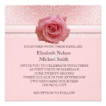 Pink Lace Damask Beauty Rose Wedding Invite