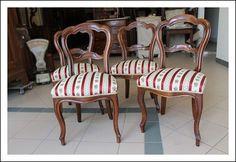 Gruppo 4 sedie Luigi Filippo, poltrone xix sec restaurate Antiquariato