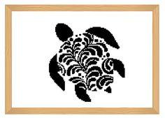 turtle cross stitch pattern silhouette cross by ILoveMyDesigns