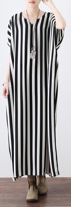 Fine black white striped long chiffon dresses plus size clothing tie waist chiffon gown Fine o neck dress 1