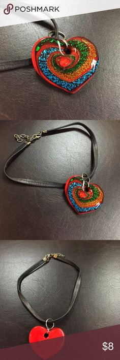 Glass Heart Choker Gorgeous glass heart on a leather choker. Vintage piece Jewelry Necklaces