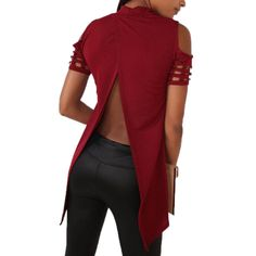 Women Hollow Out T-shirt 2016 New Fashion Short Sleeve Sexy Tee Shirts Spring Autumn Irregular Split Top Long T Shirts Top GV468 #Affiliate