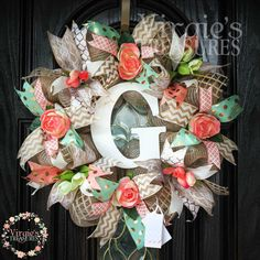 Mint and Coral Wreath, Country Chic Wreath, Monogram Wreath, Coral Roses & Tulips, Rustic Glam Decor, Housewarming, Gold/Peach/Mint by VirgiesTreasures on Etsy https://www.etsy.com/listing/399403549/mint-and-coral-wreath-country-chic