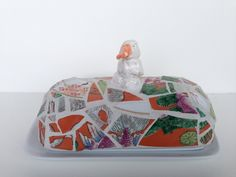 inscrutable snowduck butter dish by butterbiskit on Etsy