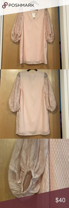 "Baby Pink Dress w/ Textured Fabric & Large Sleeves NWT. Never worn. Baby Pink Dress w/ Textured Fabric & Large Sleeves. Fitted dress on body. Just-above-the-knee length or mid-thigh length (depending on your height). Loose, long, large sleeves, gathered & cinched ""at wrist."" Sleeves move, they are longer than 3/4"" but not fully long sleeved. Sleeves are sheer fabric. V-cut neckline. Size 4. Great for Spring/Summer weddings, cocktail parties, etc. H&M Dresses Mini"