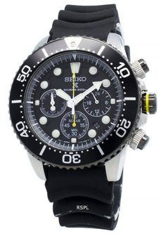 Features:  Stainless Steel Case Rubber Strap Quartz Movement Hardlex Crystal Black Dial Analog Display Chronograph Function 12/24 Hours Display Rotating Bezel Date Display Screwed Case Back Buckle Clasp 200M Water Resistant  Approximate Case Diameter: 43mm Approximate Case Thickness: 12mm Seiko Solar, 200m, Online Watch Store, Chronograph, Casio Watch, Stainless Steel Case, Watches For Men, Quartz, Crystals