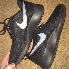 Black on Black Roshes Just bought. They are in kids sizes of a 4.5 but they fit a women's 6! They are in perfect condition. I would like to trade for: White & black Roshes size 6, polo by Ralph Lauren NWT items men, Roshes size 10 solid colored, or multiple Vs Pink. If you want to buy, please offer! Or let me know if you'd like to trade. Nike Shoes Sneakers